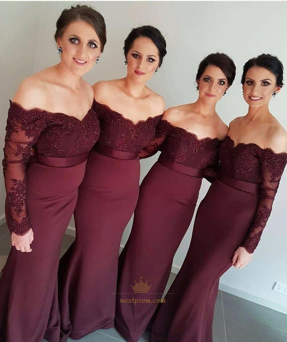 Burgundy off shoulder long sleeve lace bodice mermaid bridesmaid