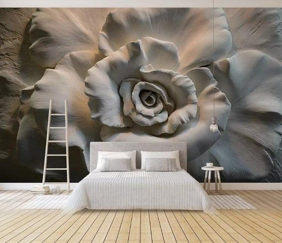 3d Embossed Effect Rose Removable Fabric Wallpaper Peel And Etsy Mural Wallpaper Wall Wallpaper Wall Murals