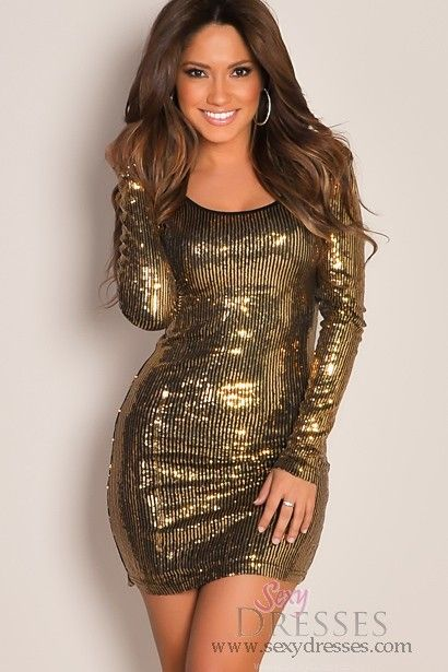 811e90c85df Gold Sequins Mini Dress Open Back Tight Sexy Dress