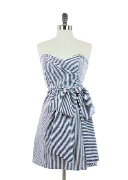 Judith March - Navy Seersucker Strapless Dress | AMY | Pinterest ...