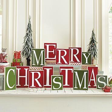 Merry Christmas Blocks | Home Decor | Pinterest