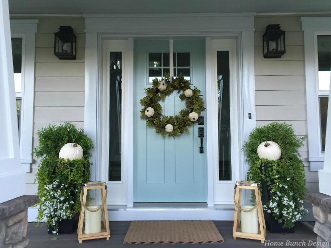 Porch Neutral Fall Front Door Decor Ideas