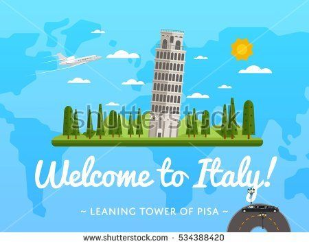 Welcome to italy poster with famous attraction vector illustration welcome to italy poster with famous attraction vector illustration travel design with leaning tower of gumiabroncs Choice Image
