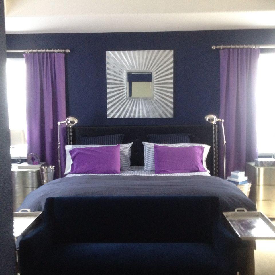 Purple And Navy Master Bedroom Purple Bedrooms Purple Master