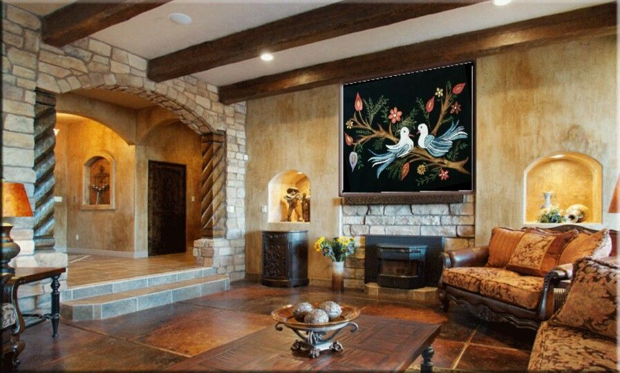 Fabric painting wall picture for a magnificent living room..