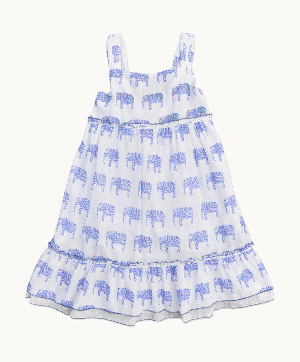 73ed592afa4 Elephant Sundress blue and white girl s dress
