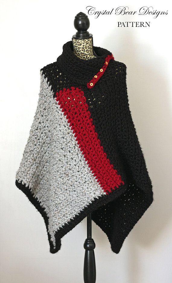 Crochet Crochet Poncho PATTERN / Womens Chunky Color Block Poncho ...