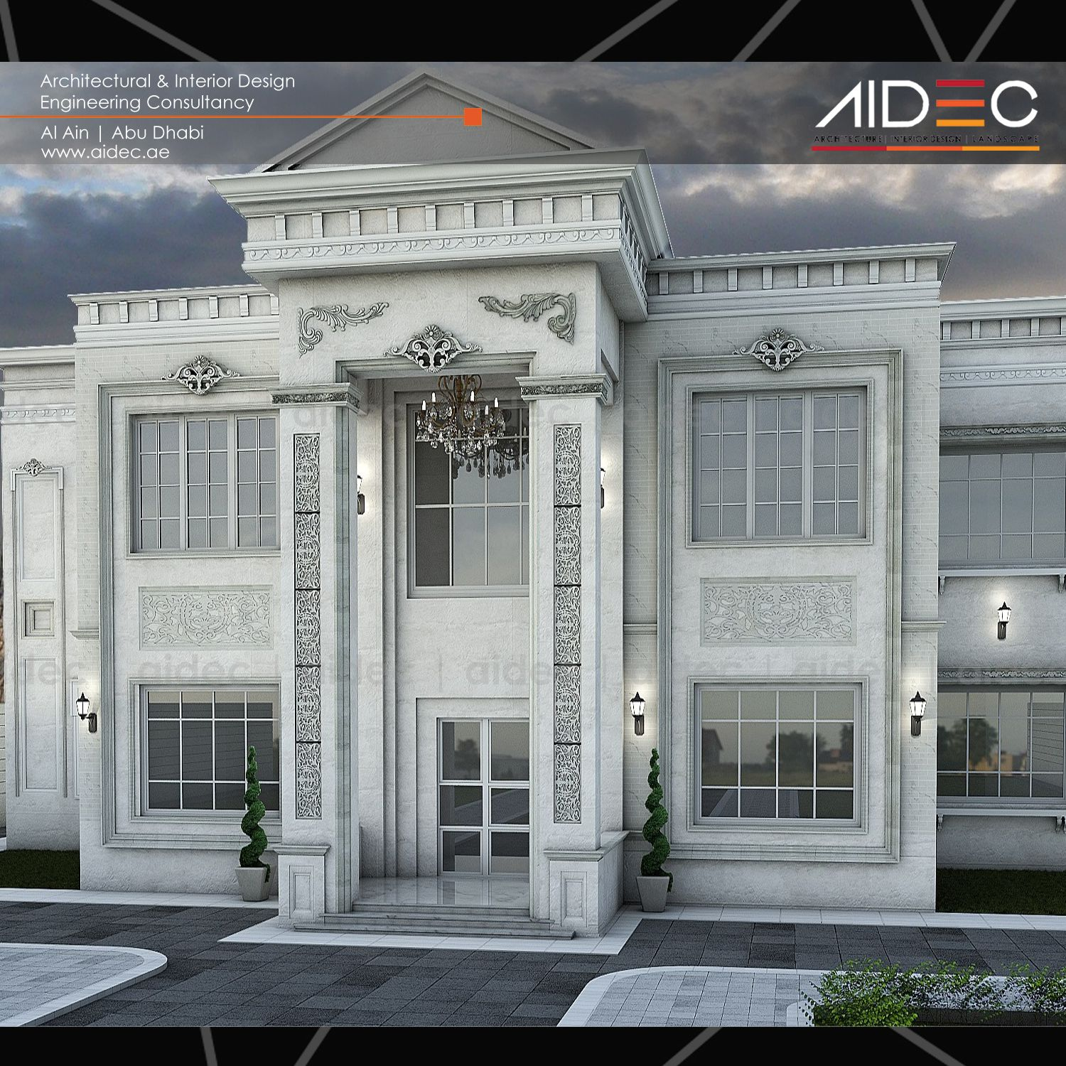 Proposed classic residential villa location abu dhabi for Classic house exterior design