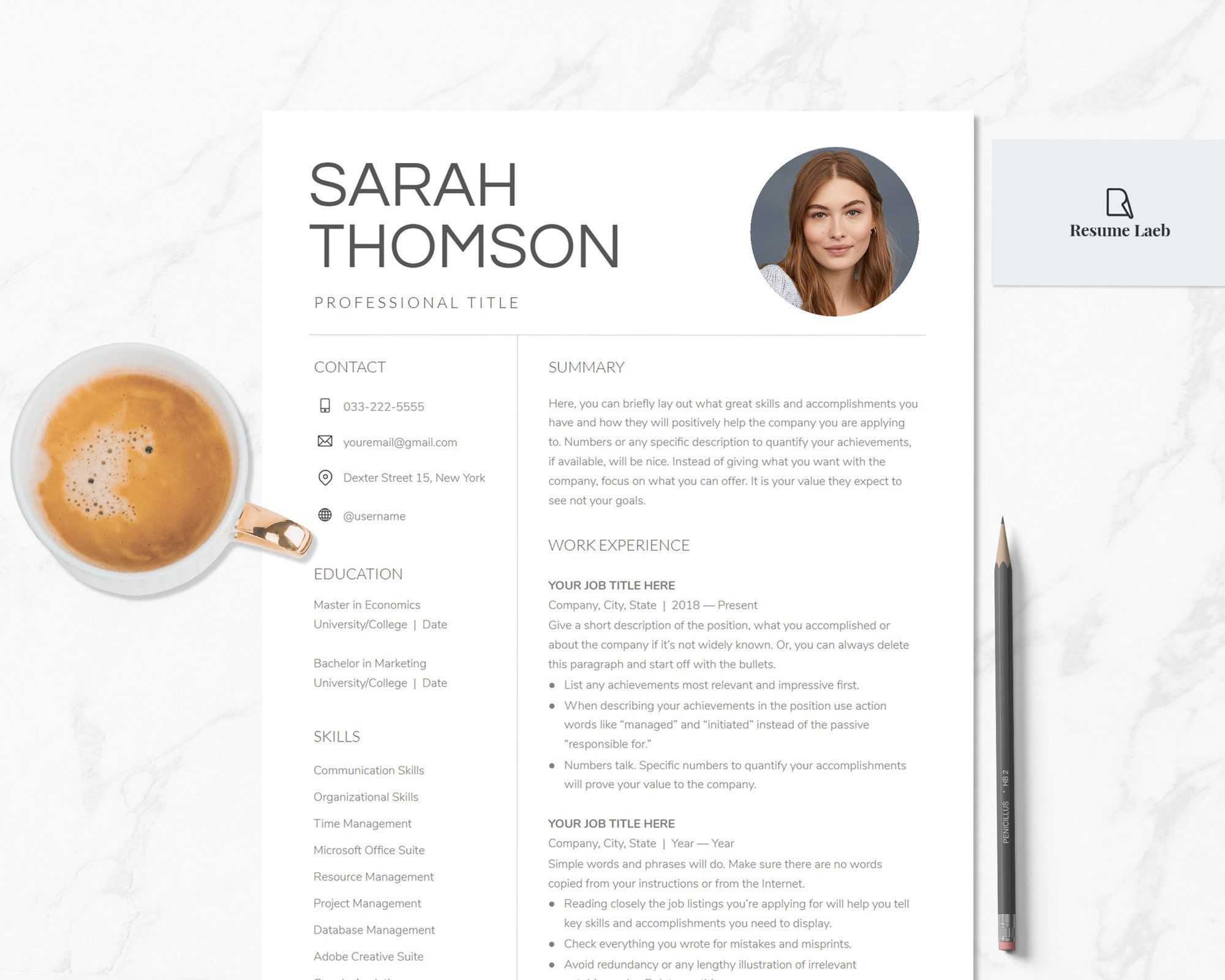 Modern Resume Google Docs Template with Photo Professional