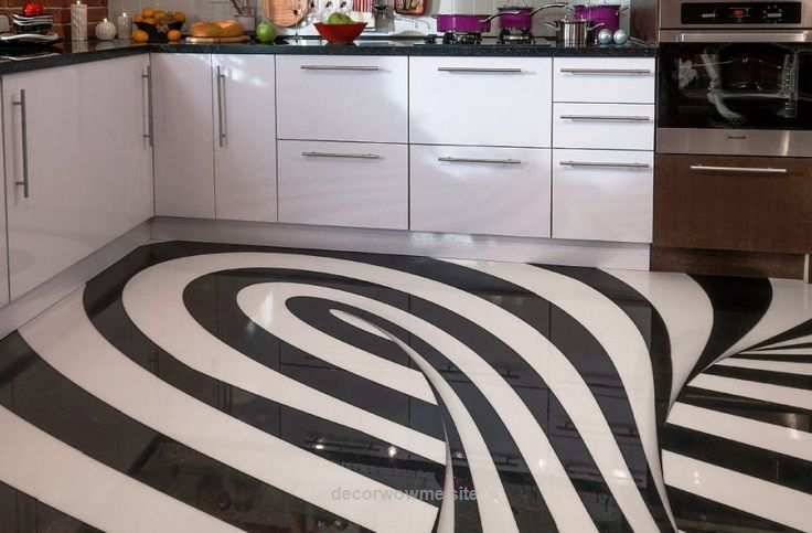 Cool Epoxy Painted 3D Flooring Art For Modern Kitchen Designs 2018 Should We Install Floor