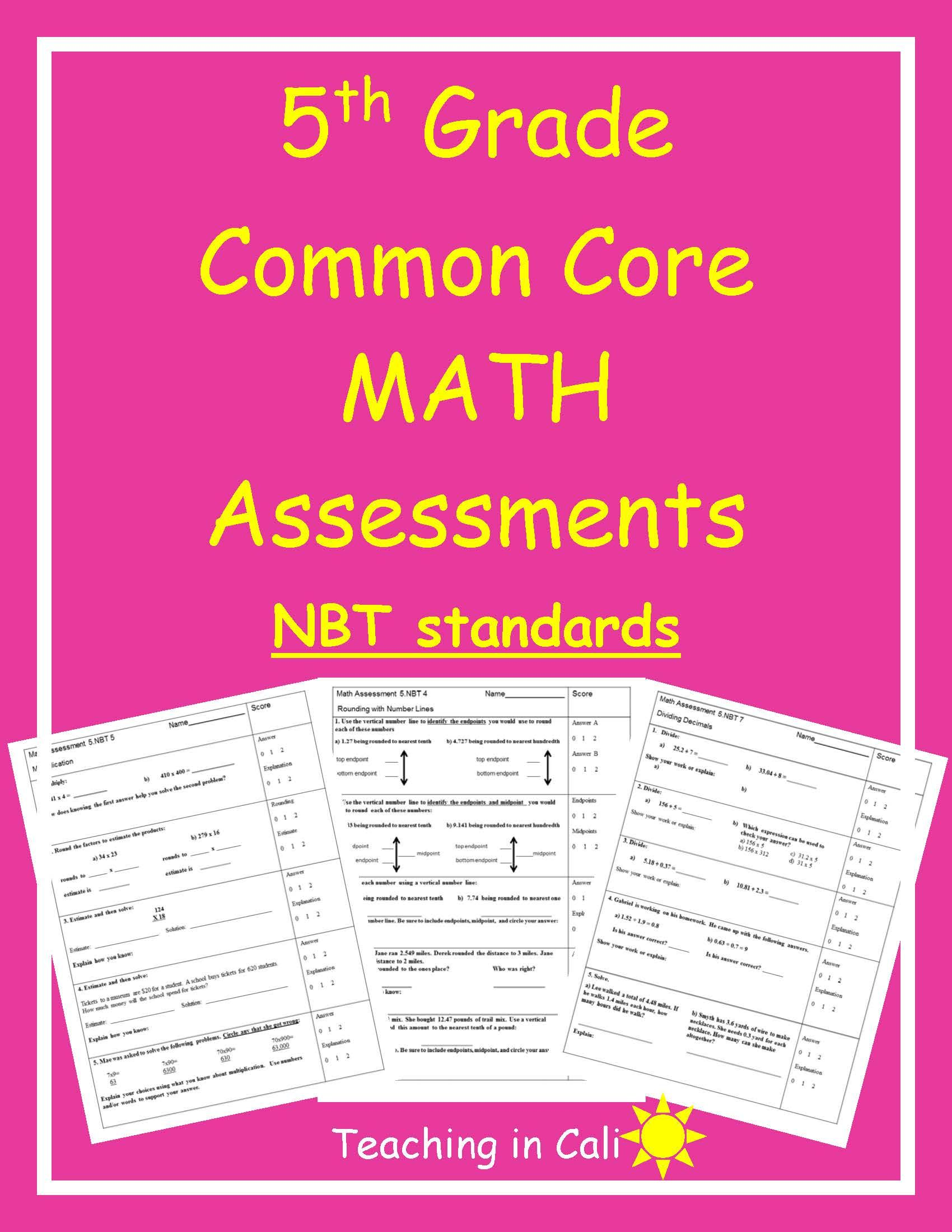 5th Grade Math Assessments Common Core Nbt Standards