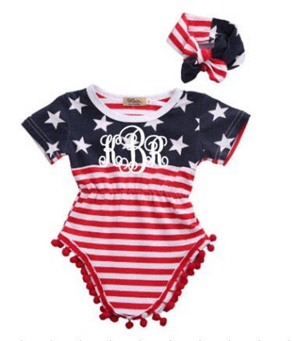 973ded52c555 monogrammed baby girl romper - red white and blue summer romper - 4th of July  Outfit - Fourth of Jul