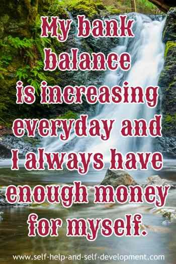 Money affirmation for daily increase of bank balance
