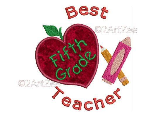 Fifth Grade Teacher Best Teacher Machine Embroidery Applique Design Apple Crayon Pencil Heart by 2artzee on Etsy