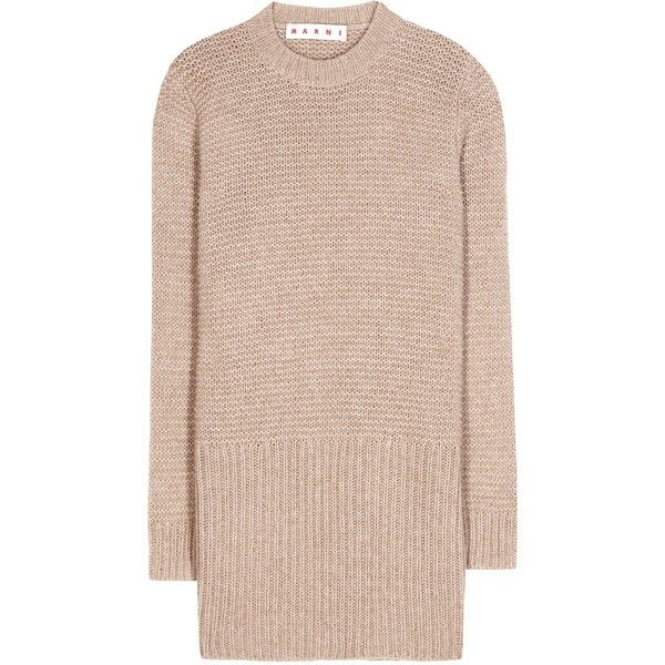 Marni Knitted Sweater Dress ($340) ❤ liked on Polyvore featuring dresses, tops, sweaters, sweater dress, beige, beige sweater dress, marni, pink sweater dress en marni dress
