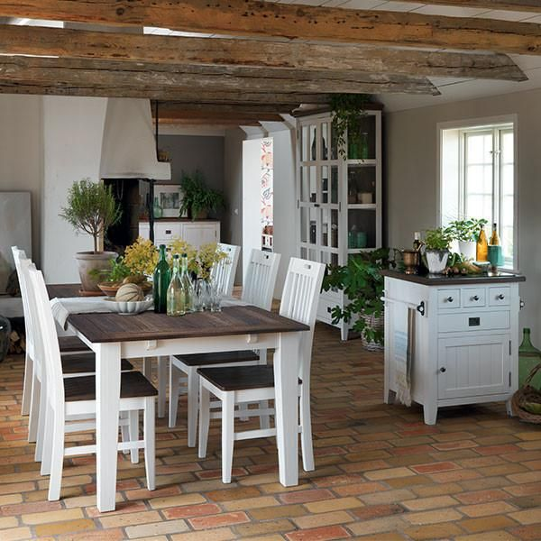 Nottingham Extending Dining Table And Wooden Chairs In Kitchen