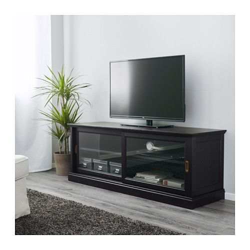 Malsj Tv Unit With Sliding Doors Black Stained Tv Bench Tv