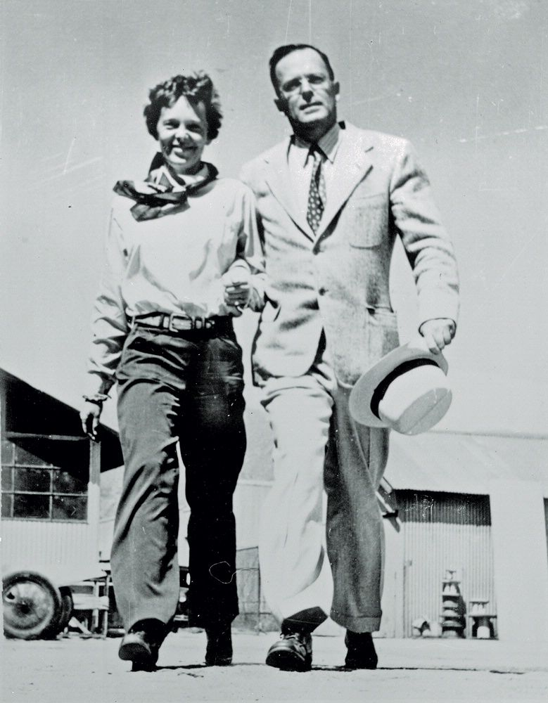 Amelia Earhart and George Palmer Putnam. After Earhart's transatlantic passenger flight, publisher and public relations wizard Putnam became her manager. In 1931 she married him—hesitantly—on the condition that they would separate in a year if unhappy. Though some called it a marriage of convenience, they remained together.    Credit:  National Air and Space Museum, Smithsonian Institution