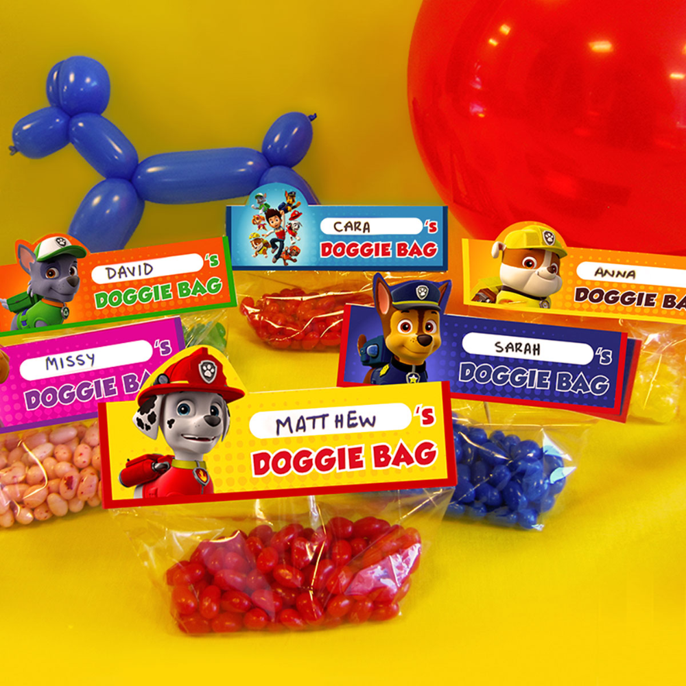 Make Your own PAW Patrol Goody Bags - Paw patrol birthday party, Paw patrol party favors, Paw patrol birthday, Paw patrol cupcakes, Paw patrol, Paw patrol treats - Send party guests off with  doggie bags  filled with treats and trinkets! Just print and cut these toppers, and use them to seal cellophane bags to create
