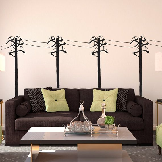 Custom Paint Shops Near Me >> Power Lines Posts Row Sihlouette - Wall Decal Custom Vinyl Art Stickers on Etsy, $28.00 ...