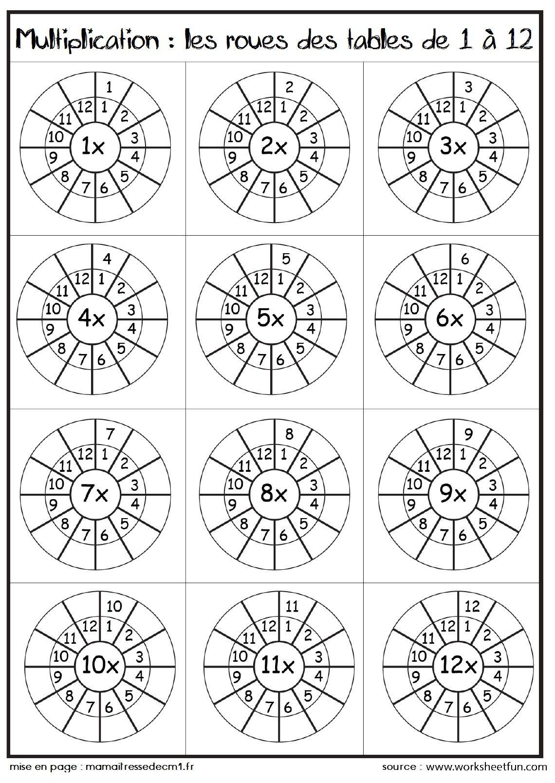 les tables de multiplication sous forme de roues table de multiplication multiplication et roue. Black Bedroom Furniture Sets. Home Design Ideas