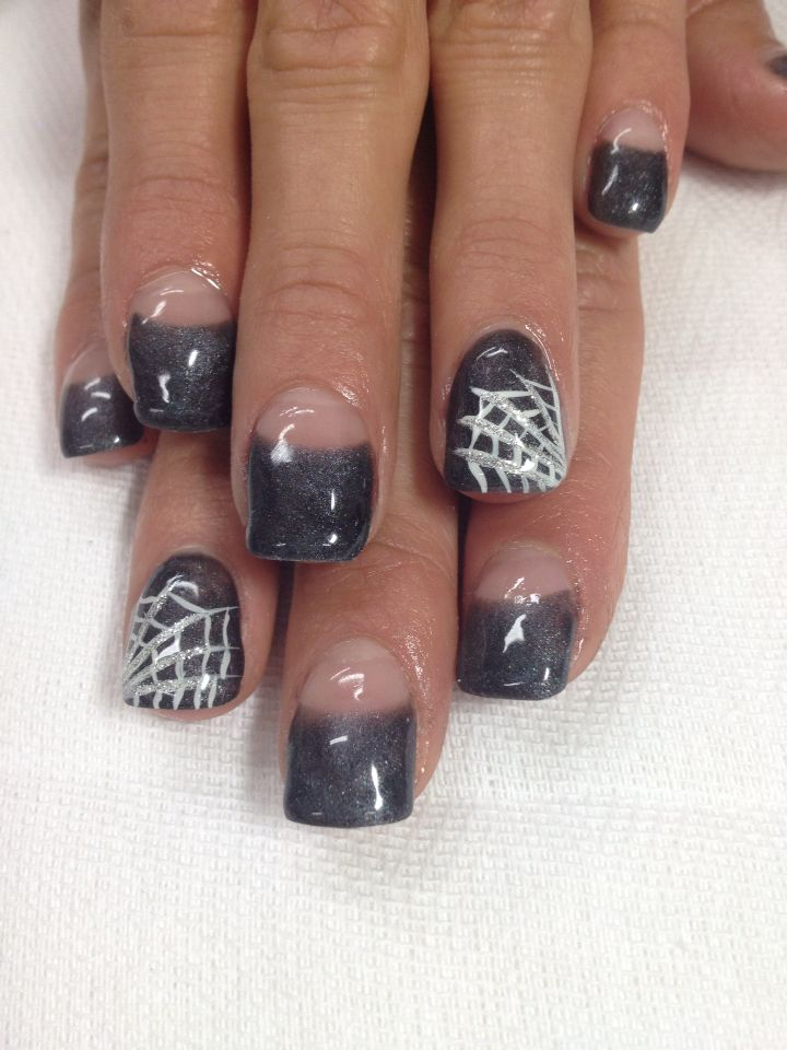 Grey Black Halloween High French Gel Nails So Cool All Gel Is Non