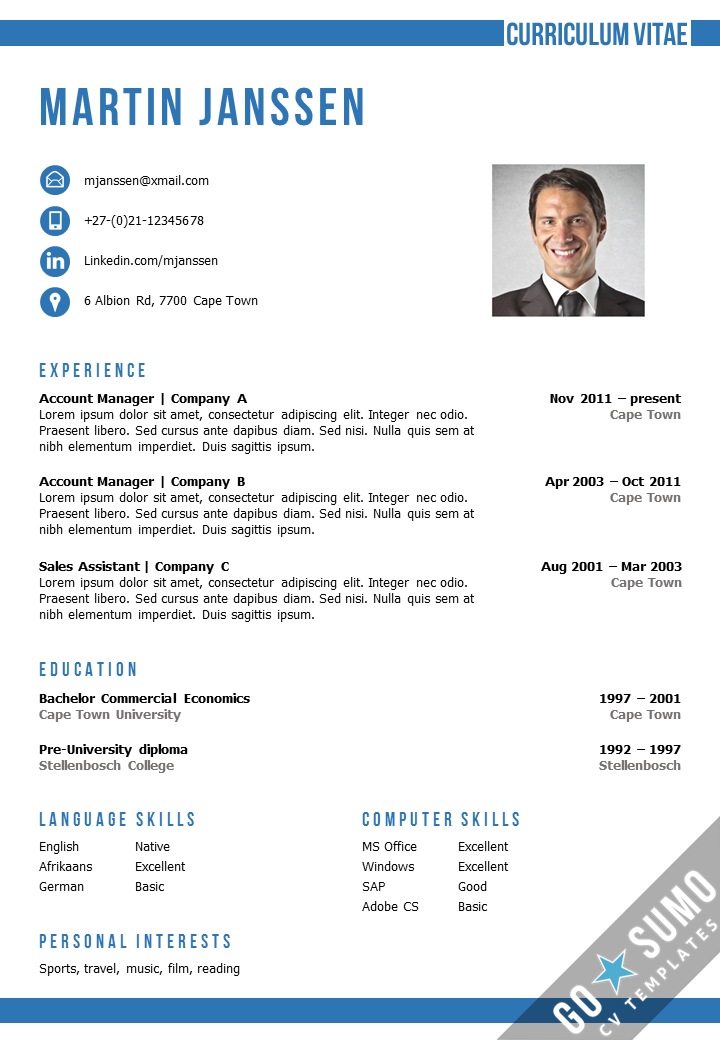 resume cv template in ms word 2 color versions in 1 incl 2nd