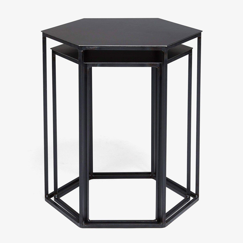 Flatiron-Wrought Steel Hexagonal Nesting Tables Small | Meisinger ...