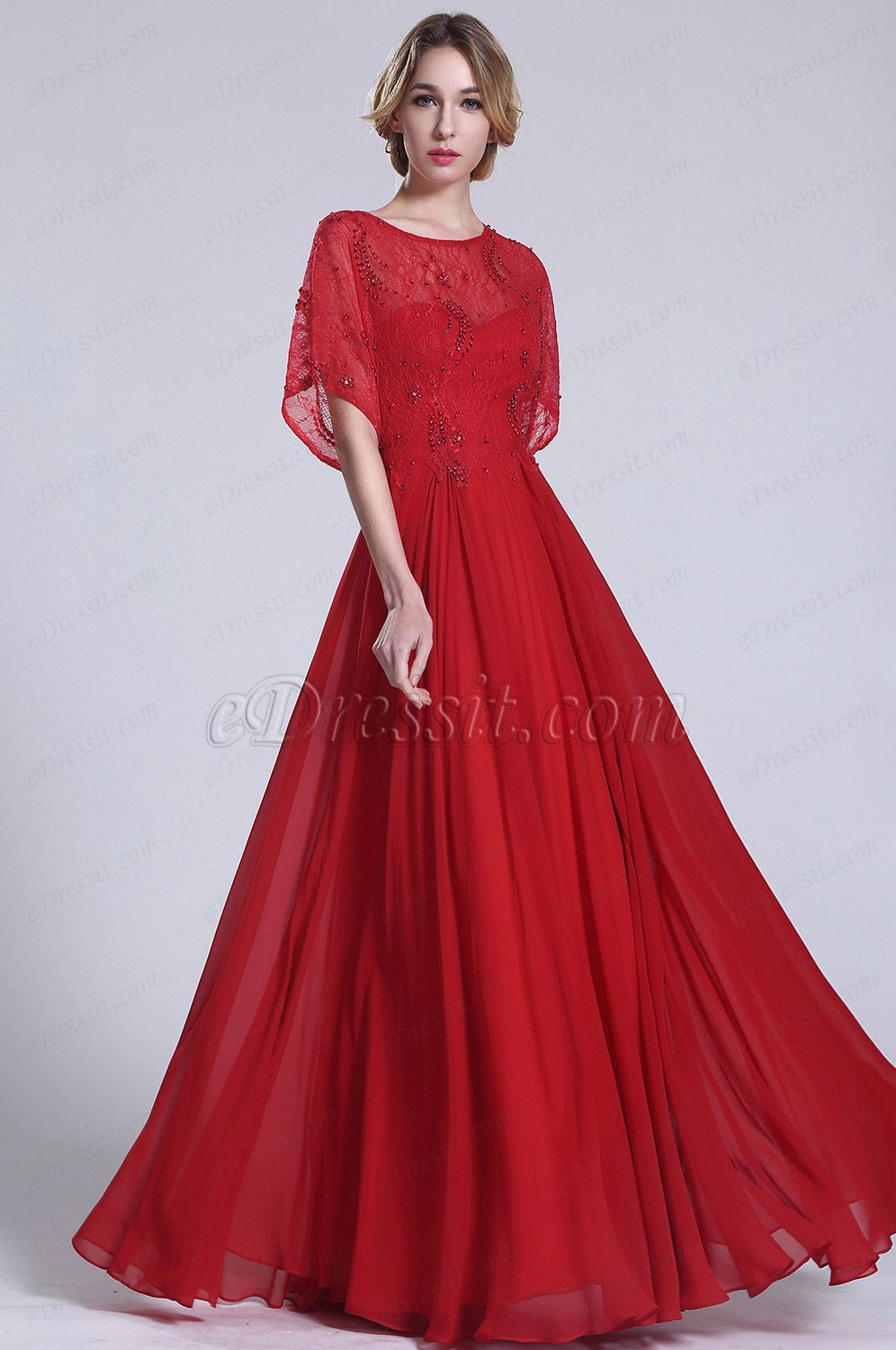 Gorgeous red evening gown with illusion bodice c edressit