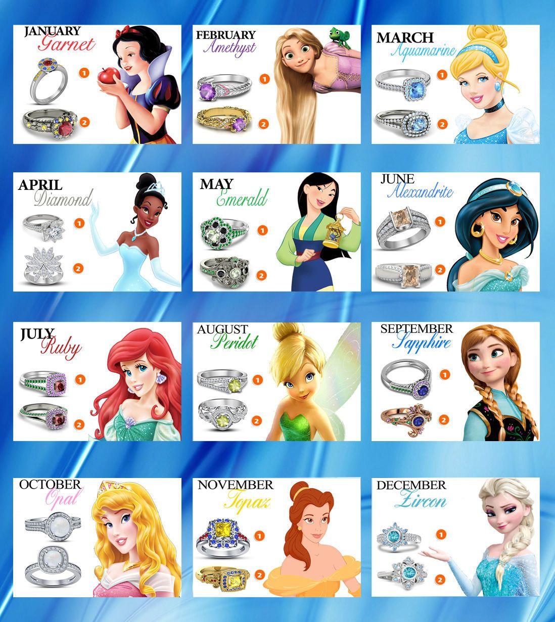 925 Sterling Silver Multi-Color Stone Disney Princess ...