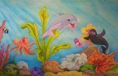 mar 12 Decoración con mural del fondo del mar