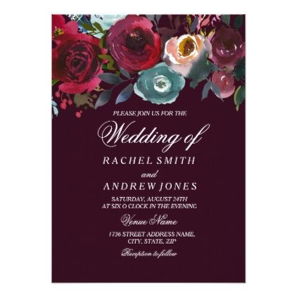 Romantic deep burgundy floral wedding invitation wedding romantic deep burgundy floral wedding invitation wedding invitations cards custom invitation card design marriage party stopboris Image collections