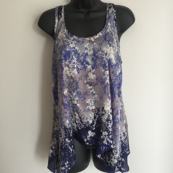 25% OFF BUNDLES! Floral patterned Summer Silk Top Asymmetrical - longer on the sides. Tops