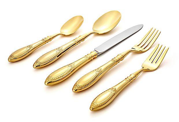20-Pc Donatello Gold-Plated Flatware
