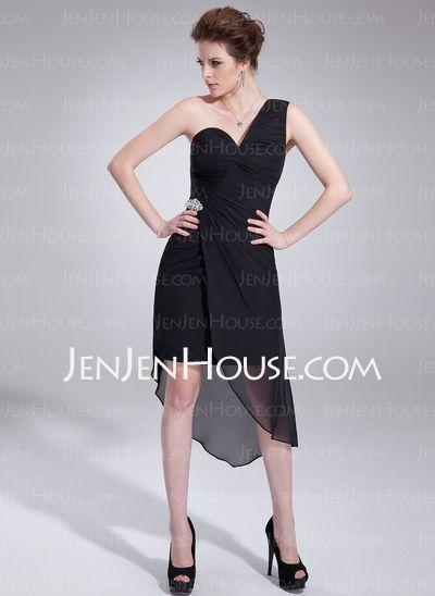 Asymmetrical Chiffon Cocktail Dress