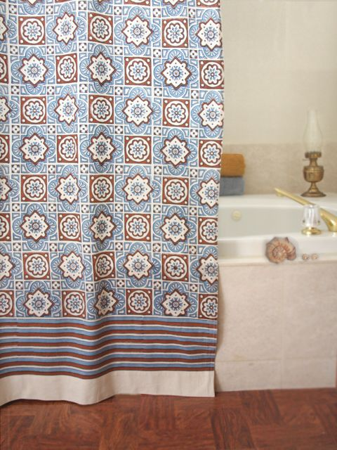 Ocean Breezes Blue Brown Moroccan Cotton Beach Shower Curtain