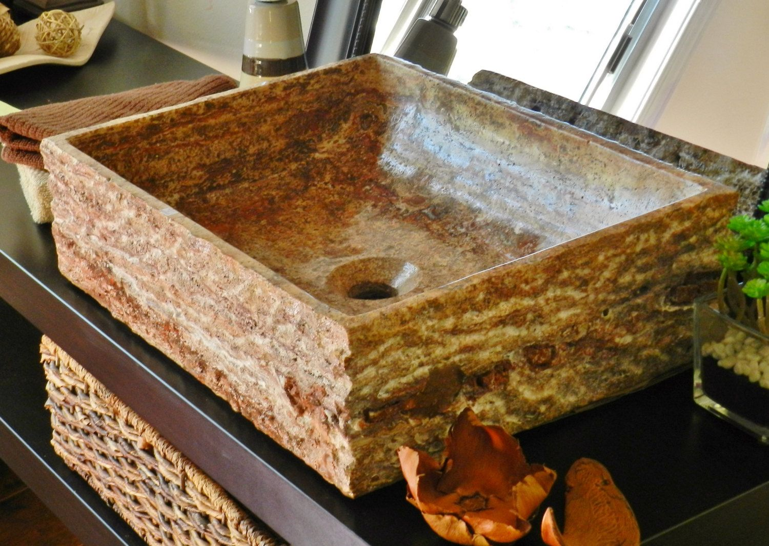 Natural Stone Rectangle Vessel Sink Red Travertine Marble Rustic