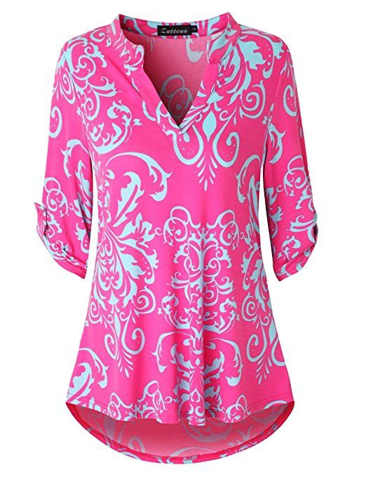 718f86e827043 Zattcas Womens Floral Printed Tunic Shirts 3 4 Roll Sleeve Notch Neck Tunic  Top at Amazon Women s Clothing store