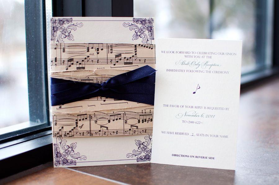 Music Wedding Invitations Rustic Inspired Lepenn Designs The