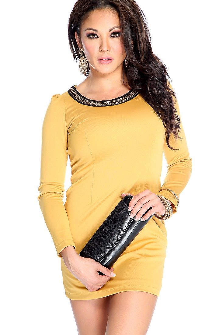 Sexy Mustard Long Sleeve Chain Neckline Casual Party Dress