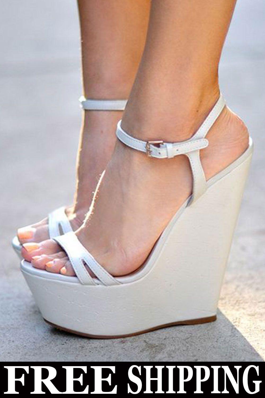 da79cc83b Trendy White Buckle Wedge Heel Ankle Strap Platform Sandals in 2019 ...