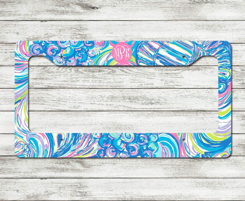 Monogrammed Lilly Pulitzer Inspired License Plate Frame ...