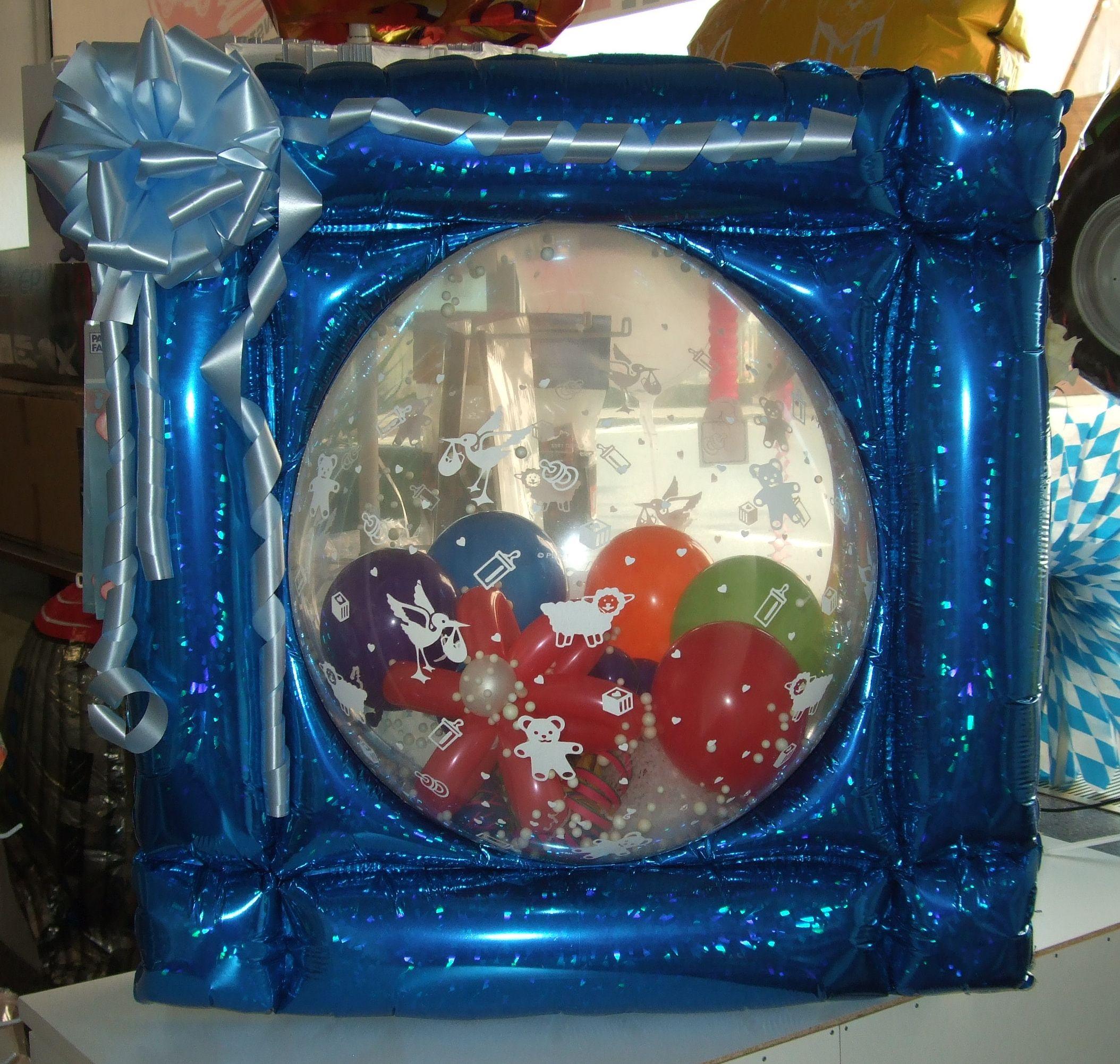Geht auch mit #Ballons, die mit versch. #Motiven #bedruckt sind. Hier einmal als #Geschenk zur #Geburt oder #Taufe