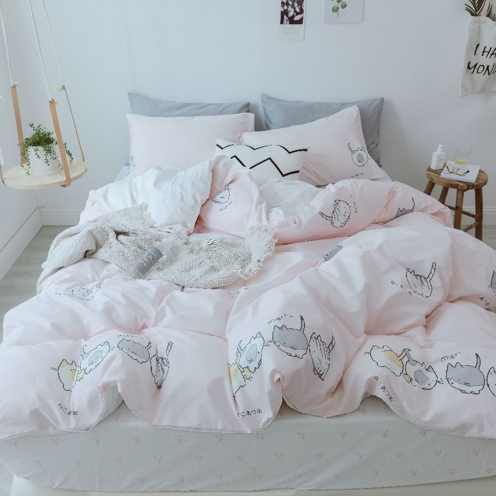 Pink Bed Sheet Set Pink Bed Cover Cat Printed Duvet Cover Cute