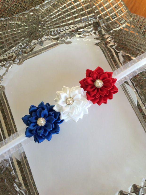 Patriotic baby headband,4th. of July headband,headband,infant headband,flower headband,bow headband,newborn headband,toddler headband.