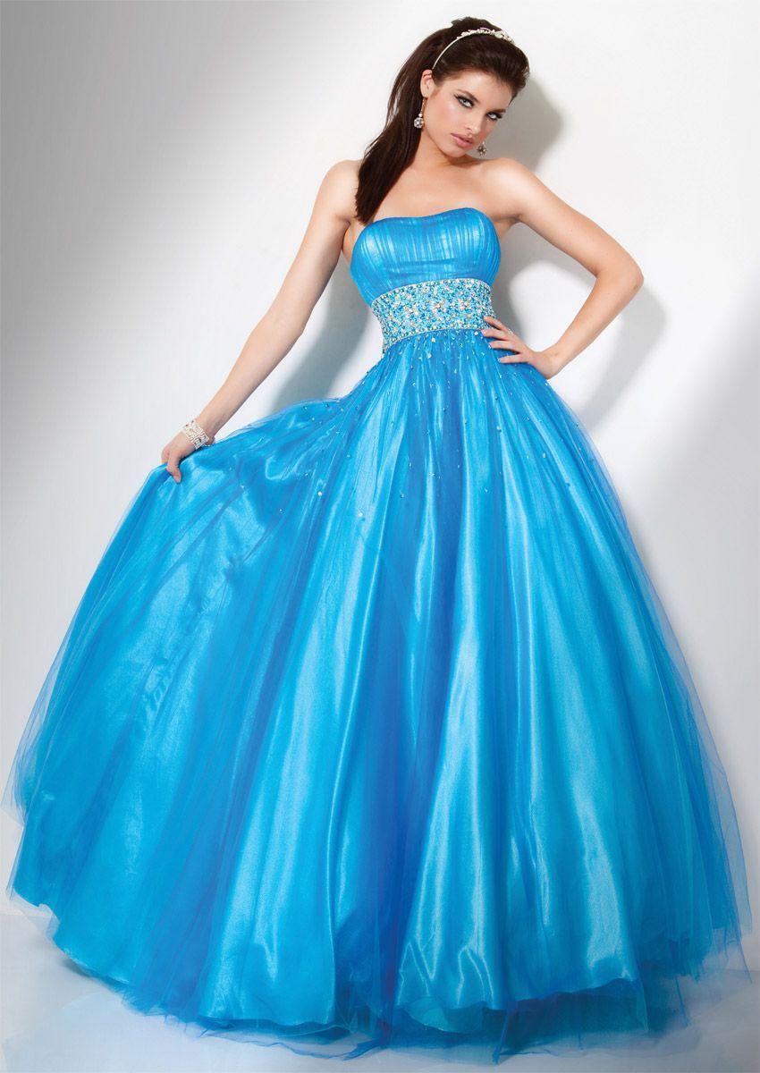 BallGown Strapless Satin Floor-length Blue Beading Quinceanera Dress ...