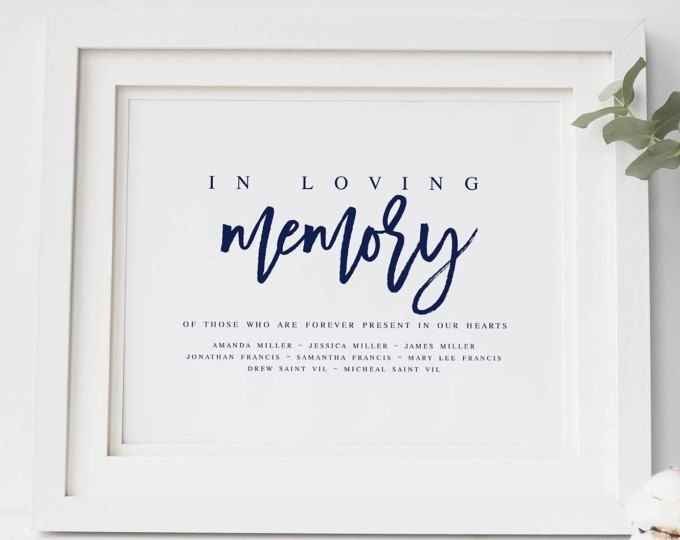 Navy In Loving Memory Wedding Sign Template DIY Wedding Sign ...