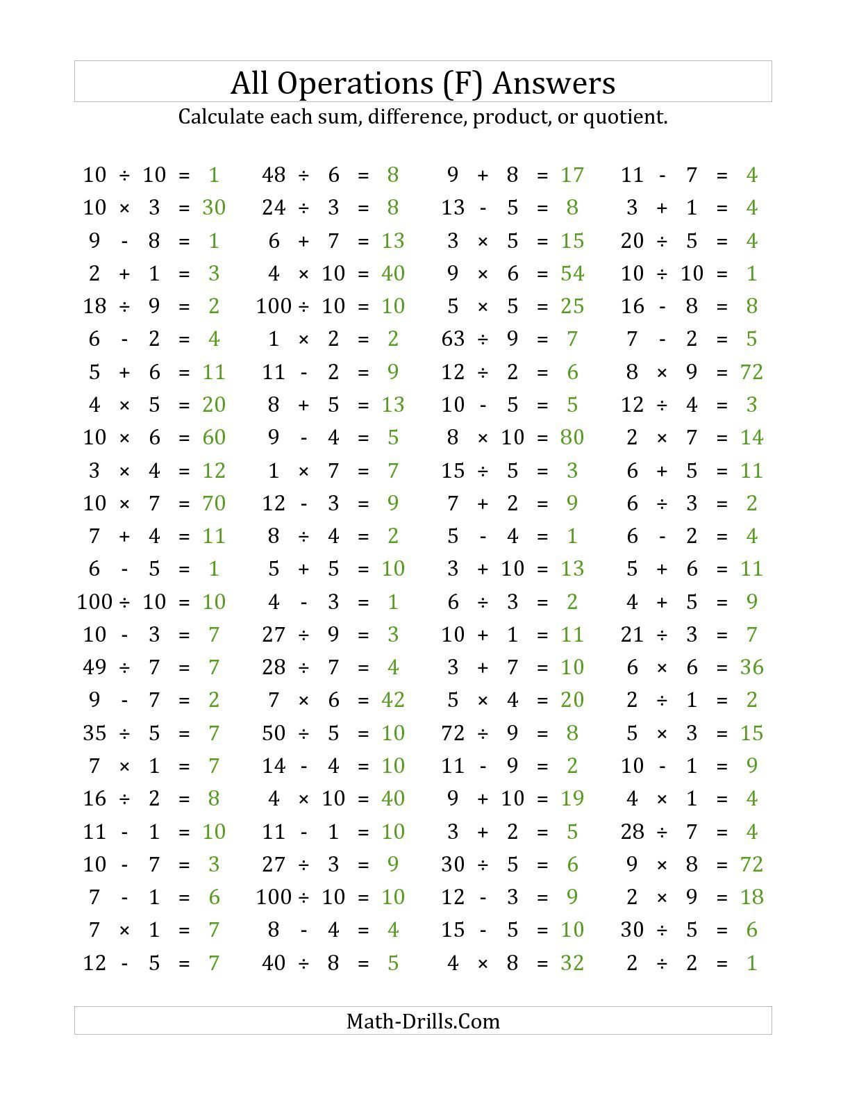 Answer Page For The 100 Horizontal Mixed Operations Questions