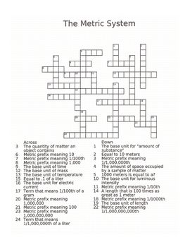 Metric System Crossword Puzzle | Good info | Pinterest | Metric ...