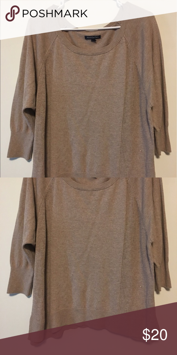 Tan lightweight sweater Tan lightweight sweater. Worn only a few times. Comfy. American Eagle Outfitters Tops Tunics